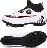 JINFAN Zapatillas De Ciclismo MTB para Hombre,Zapatillas De Ciclismo De Montaña con Candados Zapatillas Deportivas De Invierno para Hombres Y Mujeres/Suelas De Nailon,WhiteA-EU45