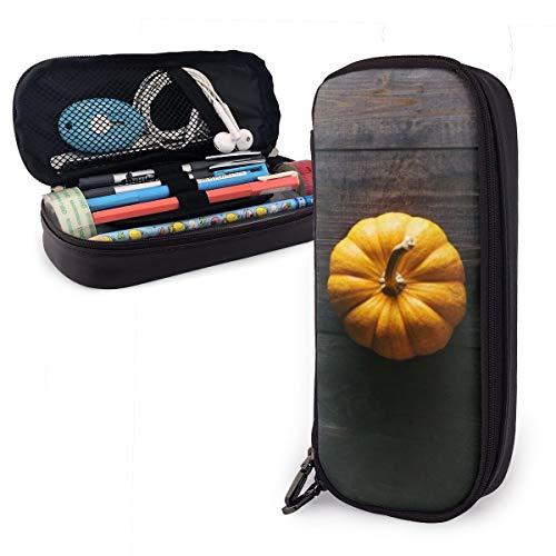 Orange Squash Kürbisboden Holz-Federmäppchen für Jungen und Mädchen, groß, Federmäppchen für Studenten, College, Schule und Büro