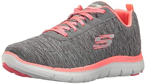 Skechers Sport Women's Flex Appeal 2.0 Fashion Sneaker, Gray/Coral, 8 M US