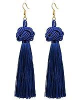 CAT EYE JEWELS Boho Colorful Statement Long Tassel Thread Fringe Eardrop Celtic Knot Dangle Navy Blue Earrings For Women Girls