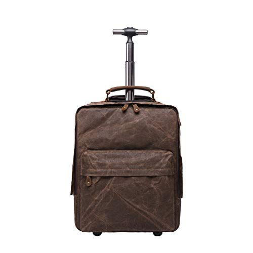 Mochila, Maleta, Lona y Cuero, Vintage, al Aire Libre/Viajes/arqueología/Aventura, Impermeable, B0107, marrón