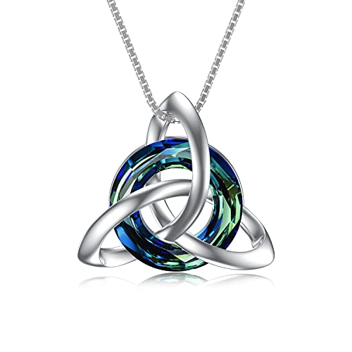 TOUPOP Irish gifts Irish Jewelry Celtic Knot Knot Necklace Sterling Silver Necklace with Blue Circle Crystal Gifts for Women Birthday Christmas (Blue)