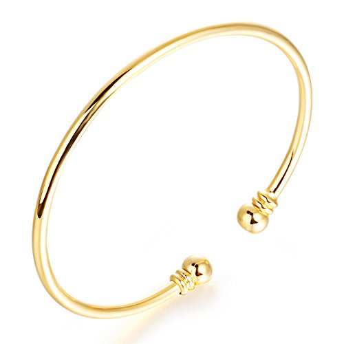Bystar Women Copper Yellow Gold Plated Bracelet Smooth Torque Bangle Adjustable