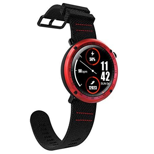 YGMOTO SVA AYSMG L19 Sports Fitness Tracker Impermeabile da 1,3 Pollici TFT GPS Bluetooth Smart Watch con cardiofrequenzimetro e Bussola e Pressione sanguigna (Grigio) (Color : Red)
