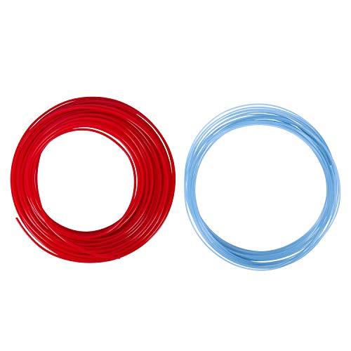 Monland 2Pcs 3D Printer Pen Filament 1.75mm PLA 10M(Glow in DarK Blue PLA&RED PLA)
