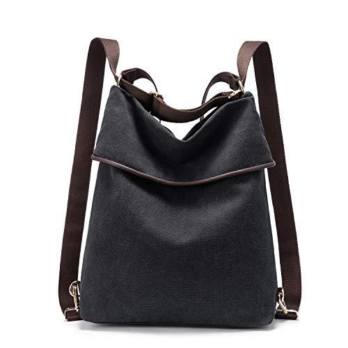 LOVEVOOK Canvas Tasche Rucksack Damen Handtasche Damen Herren Schultertasche Groß Umhängetasche Damen Anti Diebstahl Daypack für Alltag Büro Schule Ausflug Einkauf- Schwarz