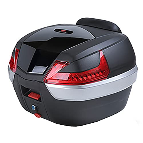 HDGFYTOR Baúl de Moto Universal 42L con Llaves y Accesorios Topcase Casco Moto Caja de Motocicleta Ciclomotores Scooter(Color:Barra de luz roja Negra)