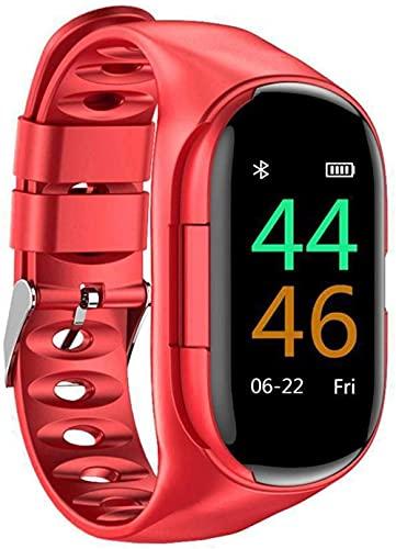 Nuevo reloj pulsera inteligente auricular Bluetooth Combo auriculares Bluetooth pantalla a color deportes reloj inteligente Monitoreo de salud reloj inteligente durable azul-rojo