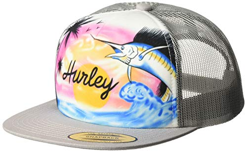 Hurley M Printed Square Trucker Gorra, Hombre, Wolf Grey, 1SIZE