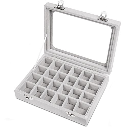 Meshela 24 Grids Velvet Glass Jewellery Ring Display Organiser Box Earrings Storage Holder (Grey)