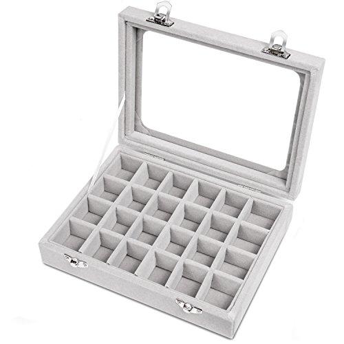 Meshela Neu 24 Fächer Damen Schmuckkasten Schmuck Box Schmuckkoffer Schmuckständer Aufbewahrungsbox für Ringe Ohrringe Halskette(Grau)