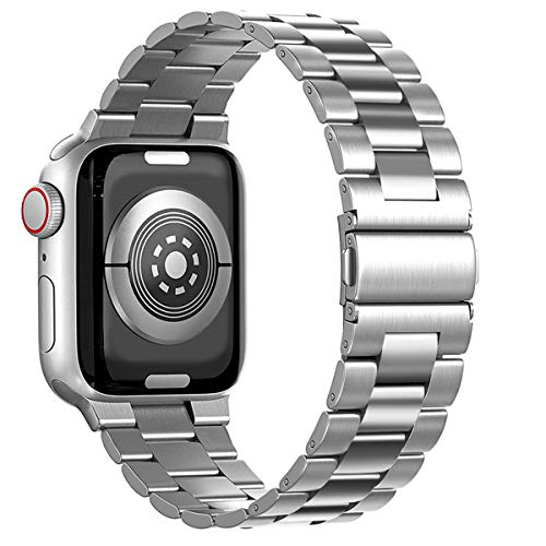 Maxjoy Compatible with Apple Watch Band, 38mm 40mm 42mm 44mm Metal Replacement Strap Solid Stainless Steel Bracelet Compatible with Apple iWatch Series 6 5 4 3 2 1 SE Sport Edition, Silver