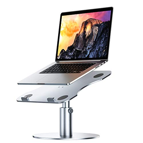 Adjustable Laptop Stand, YoFeW Aluminum Laptop Riser, Multi-Angle Height Adjustable 360°Rotation Notebook Stand Desktop Holder Compatible with Mac MacBook Pro Air, Lenovo, Dell XPS, HP(10-17')(Silver)