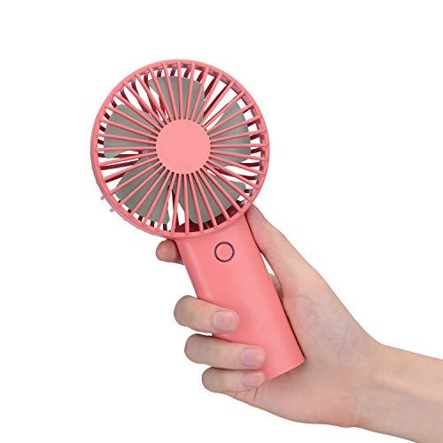 Mini Ventilador de Mano, Ventiladores USB de 4000mAh Recargable Batería, 6-15 Horas, Multifuncional Portátil Eléctrico Ventilador Ajustable 3 Velocidad para el Oficina, Hogar, Viajes, Exterior (Rojo)