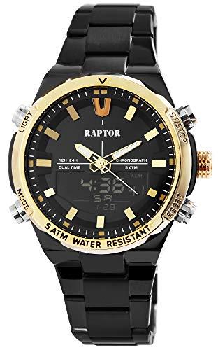 Raptor Herren-Uhr Edelstahl Chronograph Leuchtzeiger Analog Digital RA20330 (schwarz/schwarz/goldfarbig)