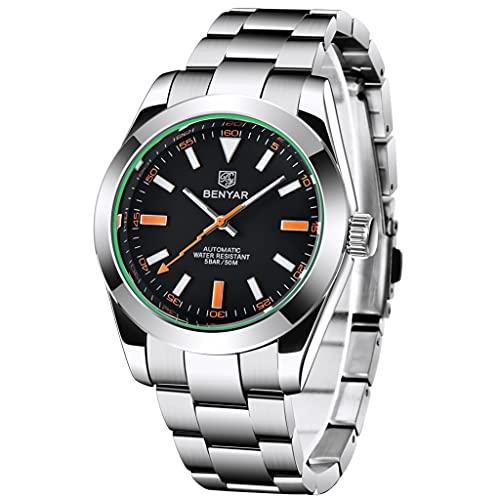 BENYAR orologio da polso da uomo in stile Milgauss, automatico con lancetta lampo, bracciale in acciaio inossidabile, impermeabile, carica automatica