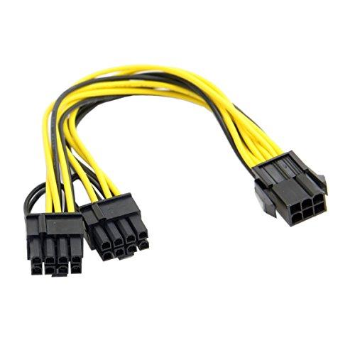 Chenyang - Cable de alimentación, divisor, extensión, tarjeta de vídeo, PCI-E PCI Express ATX de 6 pines macho a doble 8 pines y 6 pines hembra