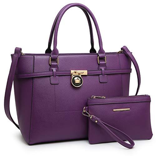 Women's Handbag Large Top Belted Padlock Shoulder Bag Tote Satchel Purse Hobo Bag for Work (Purple)