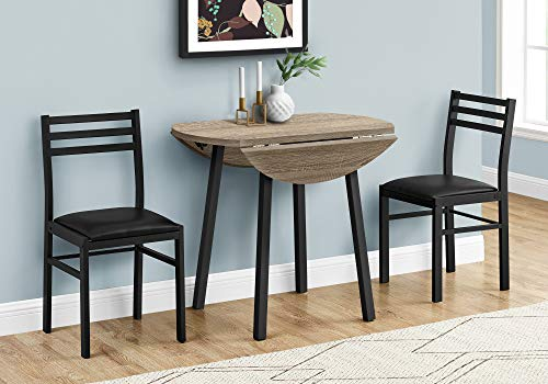 """Monarch Specialties Round Drop-Leaf Table and 2 Chairs - for Small Spaces - Modern 3-Piece Dining Set for 2, 35"""" D, Dark Taupe/Black Metal"""