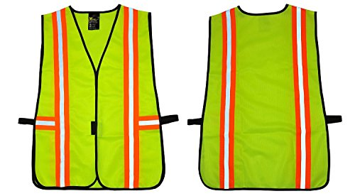 G & F Products 41112 Safety Vest with Reflective Strips, 100% Premium Poly Meets ANSI/ISEA Standards, One Size, Neon Lime Green, Fits All
