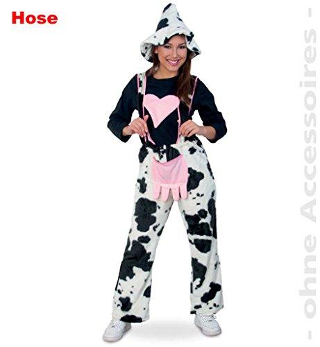 KarnevalsTeufel Damenkostüm Kuhhose mit Herz, Kuh Kühe Milchkuh Schwarz-Weiß im Kuhmuster 1-TLG. Latzhose (X-Large)