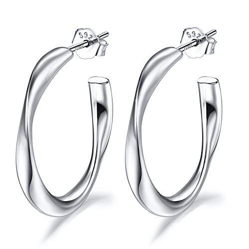 Lydreewam Pendientes de aro para mujer de plata de ley 925 trenzados, 20 mm