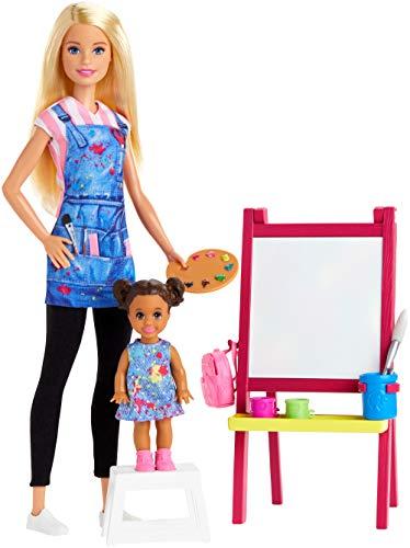 Barbie Quiero Ser maestra de arte, muñeca rubia con bebé y accesorios...
