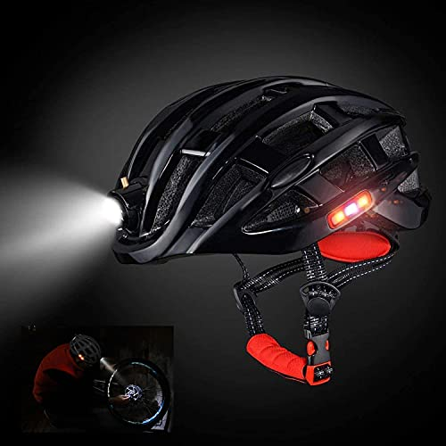 Fahrradhelm, MTB/Mountainbike/Bike/Scooter atmungsaktiver Helm, Multifunktions Sicherheitsverstellbarer Scheinwerfer Dreiseitige Sicherheitswarnleuchte Universal Herren Damen Kinder