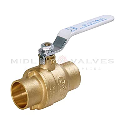 Midline Valve 832C223-NL Premium Full Port Ball Valve, Brass, 1 in. SWT x 1 in. SWT by Everflow Supplies
