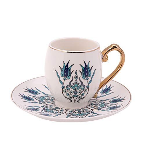 KARACA Iznik Kaffeeservice für 6 Personen -12 teilig Kaffeetassen Set mit Untertasse-Türkisch Kaffee und Mokkatassen Set aus Porzellan-Traditional Muster Porzellan Kaffeeservice-Espresso Set