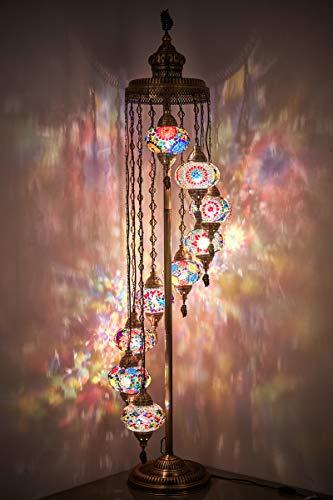 DEMMEX - Lámpara de pie con mosaico turco marroquí de 9 grandes globos, estilo bohemio, estilo bohemio, Tiffany mosaico con enchufe y enchufe norteamericano, 6 pies (todos los colores)