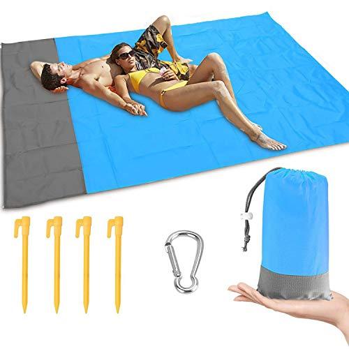 Impermeable Alfombras de Playa, Anti Arena Portátil 210x200CM Manta de Picnic con 4 Estaca Fijo para la Playa, Acampar, Picnic y Otra Actividad (Azul)