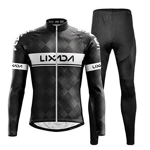 Lixada Herren Radtrikot Set Fahrrad Trikot Langarm + Radhose mit Sitzpolster Radsport-Anzüge