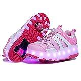 Zapatillas Deportivas LED para Niños LED Roller Skate Shoes USB Recargable Skate Zapatillas Unisex Zapatillas de Skate con Ruedas Dobles Moda Gimnasia Zapatos de Skateboard Calzado de Deportes de