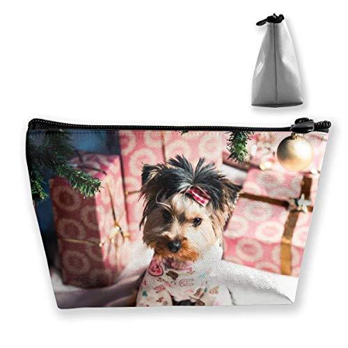 Dressed Puppy Sac de maquillage grand format en forme de trapèze, sac de voyage, sac de toilette, sac cosmétique, porte-stylo, fermeture éclair, étanche