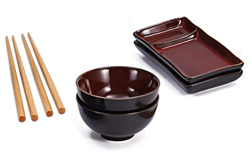 Urban Lifestyle Misaki Sushi Set Wine Red for Two People, 2 Sushi Plates, 2 Ceramic Bowls, 2 Pairs of Bamboo Chopsticks