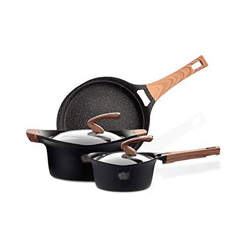 FGH QPLKKMOI Simplemente Ollas y sartenes Conjunto, Antiadherente anodizado Duro de 3 Piezas de Utensilios de Cocina, Negro