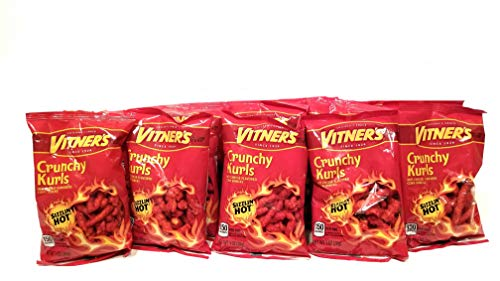 Vitner's 10 Pack Crunchy Curls Sizzlin' Hot Cheese A Chicago Original 1oz bags