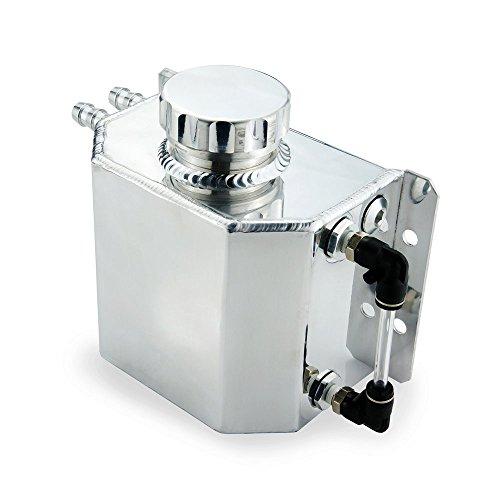 heinmo Universal Auto refrigerante del radiador Tanque de expansión aleación de aluminio 1L con Tapón de drenaje 1000ml (plata)