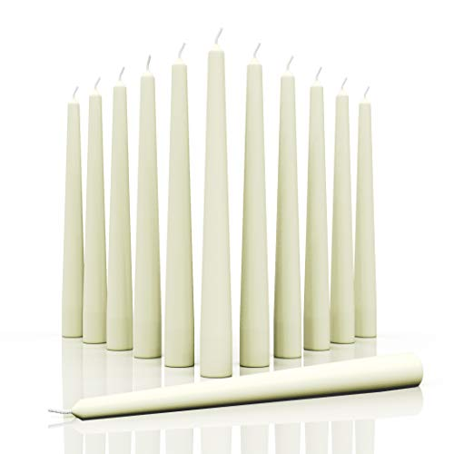 CANDWAX 10 inch Taper Candles Set of 12 - Dripless Taper Candles and Unscented Candlesticks - Perfect as Dinner Candles and Household Candles - Pearl Candles