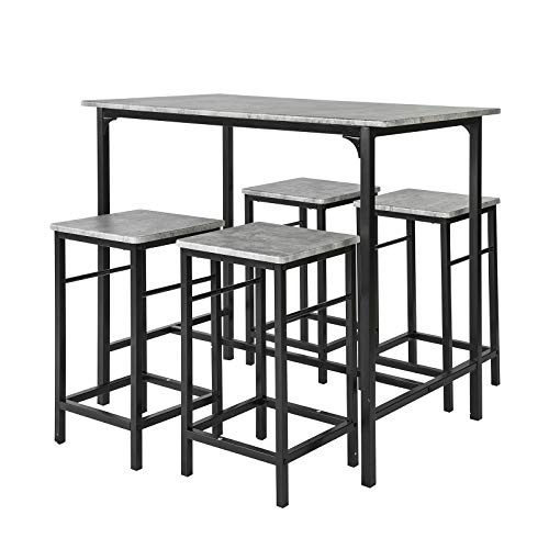 SoBuy® OGT11-HG Set de 1 Table + 4 Tabourets Ensemble Table de Bar bistrot + 4 tabourets avec Repose-Pieds Table Mange-Debout Table Haute Cuisine