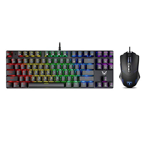 Pictek Gaming Keyboard and Mouse, [7200 DPI] [Programmable] [Breathing Light] [7 Buttons] Ergonomic Mice, [Compact 87 Key] [RGB Backlight] [100% Anti-Ghosting] [27 LED Lighting Modes] Keyboard, Bundle