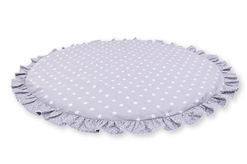 Amilian® Krabbeldecke Spieldecke Decke Kinderteppich Kriechmatte Spielbögen Sternchen Grau (110 cm)