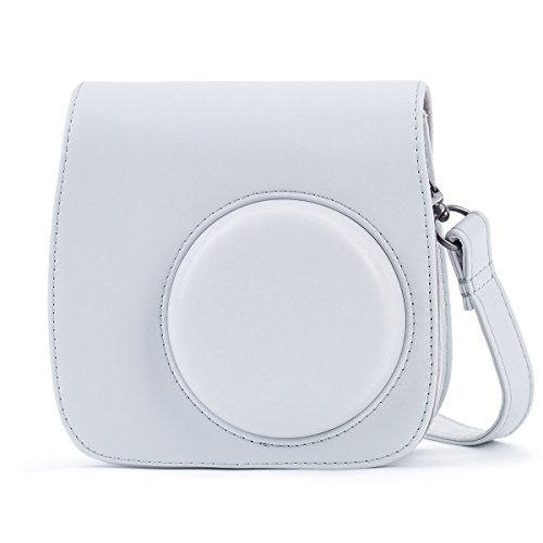 Leebotree Tasche Kompatibel mit Instax Mini 9 / Mini 8 8+ Sofortbildkamera aus Weichem Kunstleder mit Schulterriemen und Tasche (Smoky Weiß)
