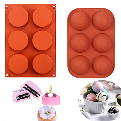 Medium Semi Sphere Silicone Chocolate Mold, 6-Cavity Round Shape Silicone Baking Molds for Making Hot Chocolate Bomb, Candy Mini Soap, Cake, Jelly, Pudding, Ice Cube Bread Cupcake and Jello