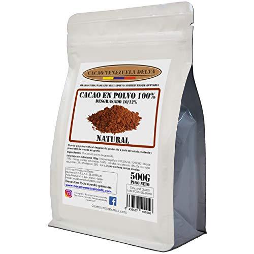 Cacao en Polvo Puro 100% - Tipo NATURAL - Desgrasado 10-12% - Bolsa 500g - Cacao Venezuela Delta