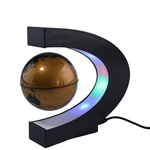 EONHUAYU Schwebender Globus, Schwimmende Kugel der Magnetischen Schwebe C-Form-Sockel mit LED-Lichtlampe für den Unterrichtsunterricht Home Office-Schreibtischdekoration (Gold)