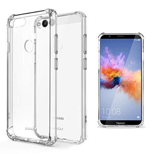 Moozy Funda Silicona Antigolpes para Huawei Honor 7X - Transparente Crystal Clear TPU Case Cover Flexible