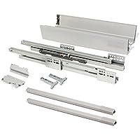 EMUCA - Kit de cajón para Cocina o baño con guias de extracción Total y Cierre Suave, Altura 141mm y Profundidad 500mm, Gris