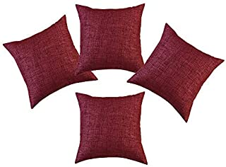 SINOGEM Red Christmas Throw Pillow Red Decorative Soft Faux Linen Throw Cushion Covers Pillow Covers for Bedroom 18 x 18 Inches with Invisible Zipper 4 Pack(Red)